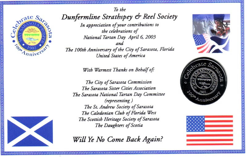 certificate of thanks from Florida